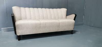 Art Deco Clam Shell Sofa 3 Seater Ebony Arms Vintage Antique 1930s