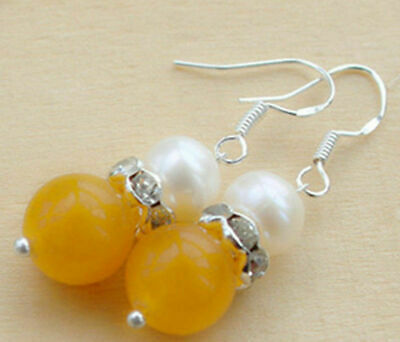 Beautiful Natural 10mm Yellow Jade White Pearl 925 Silver Earrings