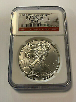 1 Once American Eagle Silver Argent 2011 NGC MS69 Dalle 999 Pièce Gegradet