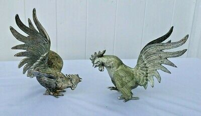 Metal Fighting Cockerels, Made In Italy, 17.5 Cm & 14.5 Cm High.