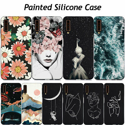 For Samsung Galaxy A6 A7 A8 Plus A9 2018 Painted Case Slim Silicone Phone Cover