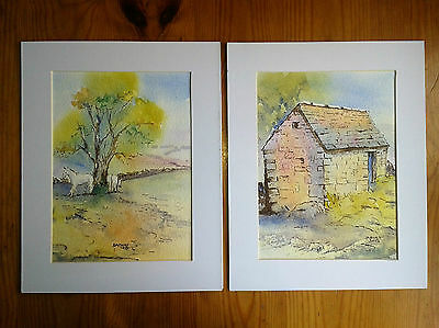 Old Stone Barn Helton & Field Down Helton, 2 Mounted Water Colour Paintings.