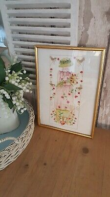 """VINTAGE FRAMED  NEEDLE POINT FLOWER GIRL~POPPIES~BIRDS 12.5""""x9""""EX CONDITION"""