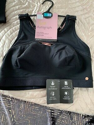 Bnwt  Extra High Impact Sports Bra M&S Rosie For Autograph Black  32 B