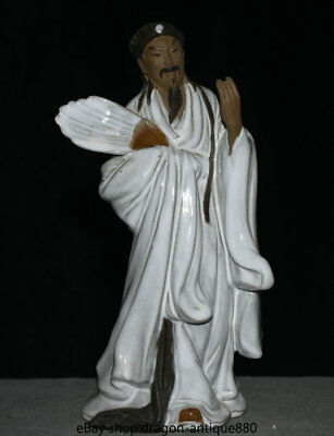 """9.2"""" Old Chinese Wucai Porcelain Pottery mastermind Zhuge Liang Statue Sculpture"""