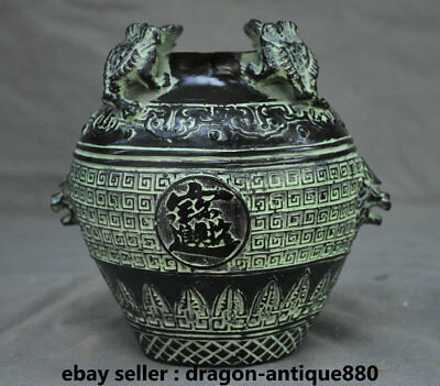"7.2"" Collect Old Chinese Bronze Ware Dynasty Palace golden toad Pot Jar Crock"