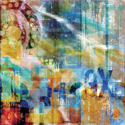 Mixed media abstract digital print on canvas with acrylic, resin, sand 1x1m