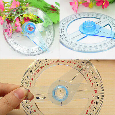 Circular Plastic 360 Degree Pointer Protractor Ruler Angle School Office Tool