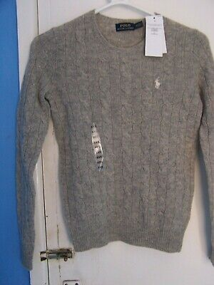ba8f3124e Ralph Lauren WOMEN S LADIES CABLE KNIT CREW NECK JUMPER Grey SIZE XXS RRP  £119