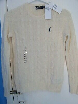 28276e445 Ralph Lauren WOMEN S LADIES CABLE KNIT CREW NECK JUMPER Cream SIZE XXS RRP  £119
