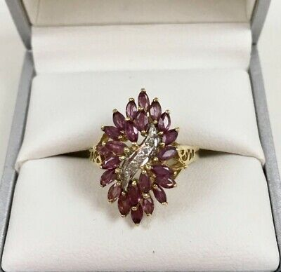 14k Solid Yellow Gold Ring Natural Red Ruby  And Diamonds