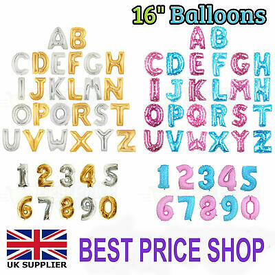 "Gold & Silver 16"" Alphabet Letter Number A-Z Foil Balloons NAME PARTY WEDDING UK"