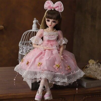 1/3 BJD Doll Girl Resin Body + Face Makeup + Eyes + Clothes + Wigs XMAS GIFT 888
