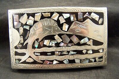 Vintage Alpaca Mexico Silver Abalone Shell Inlay Swordfish Belt Buckle South