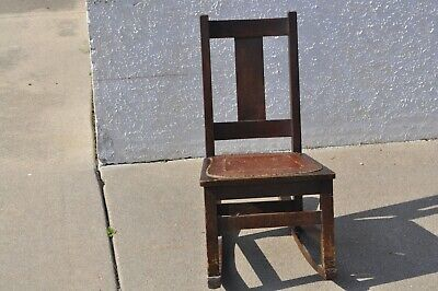 Antique Limbert Arts & Crafts Oak Small Rocking Chair w/ Embossed Leather Seat