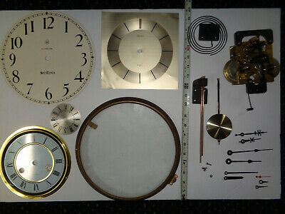Nice Mixed Lot Of Vntg Clock Dials Brass Bezel Movement Faces Hands Parts Repair
