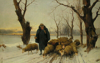 "handpainted oil painting  ""The shepherd and his sheep are in the snow"" @N5365"