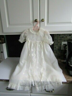 Vtg Baptismal Gown & Slip Floral Embroidery on Sheer White Nylon