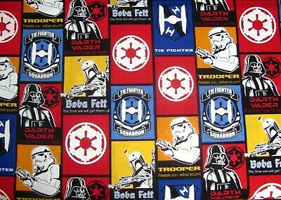 "16"" x 43"" Star Wars Darth Vader Boba Fett Trooper Quotes Patch on Cotton Fabric"