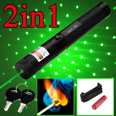 Military 2in1 532nm 5mw Green Laser Pointer Adjustable + 18650 batttery charger