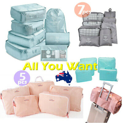 5/7Pcs Waterproof Clothes Storage Bags Packing Cube Travel Luggage Organizer AU