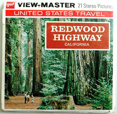 """3x VIEW MASTER 3D REEL """" REDWOOD HIGHWAY CALIFORNIA """" 
