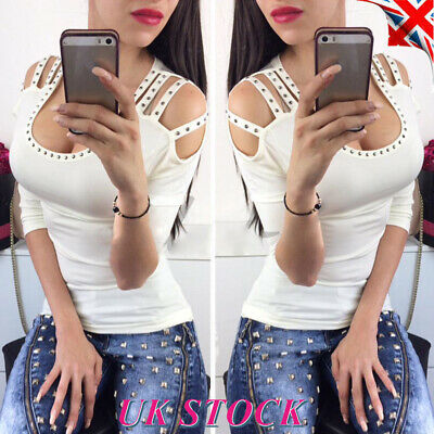 Womens Beaded Cut Out T Shirt Blouse Ladies Low Cut Sexy Summer Bodycon Tops UK
