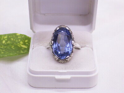ART DECO RING: 835er SILBER: GLASSTEIN: BLAU: GR.: 64