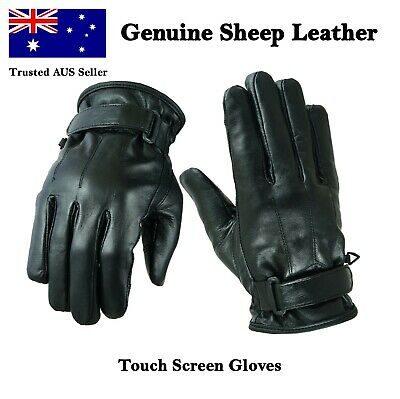 Mens Leather Gloves Black Touch Screen - Winter Gloves - Sheep Leather Gloves
