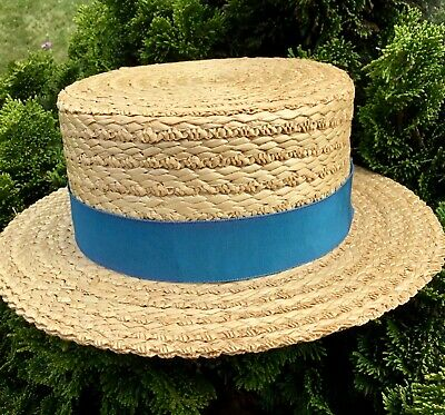 Traditional Natural Straw Boater With Teal Ribbon Band Size Uk 7 1/4 59 Cm (L)