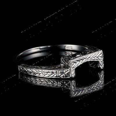 Solid 14k White Gold Pave Setting Wedding Anniversary Band Ring Fine Jewelry Hot