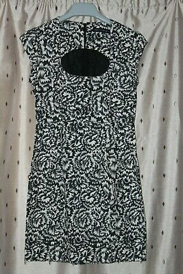 French Connection ~ Ladies Black & White Cotton Floral Dress ~Size 10