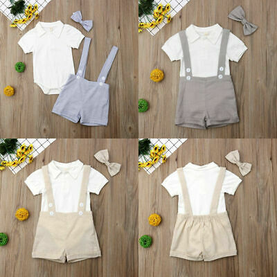 2PCS Newborn Baby Boys Gentleman Outfits Tie Shirt Romper Bib Pants Suit Clothes