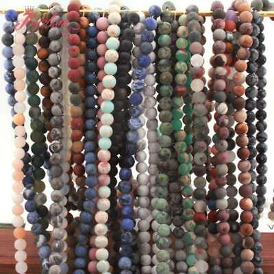 """6mm Round Ball Frost Matte Natural Stone Loose Spacer Beads for Jewelry 15""""DIY"""