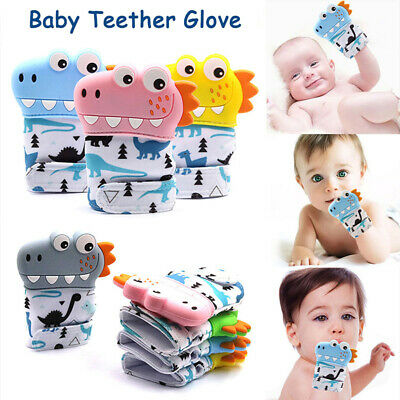 Baby Silicone Dinosaur Mitts Teething Mitten Teether Molar Glove Safe Chew Toy