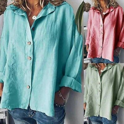 f299456fc71 Boho Women Long Sleeve Cotton Linen Kaftan Ladies Baggy Blouse Tee Shirt  Tops