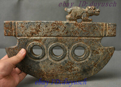 Collect Chinese HongShan Culture Old Jade Stone Carved Beast axe weapon Statue
