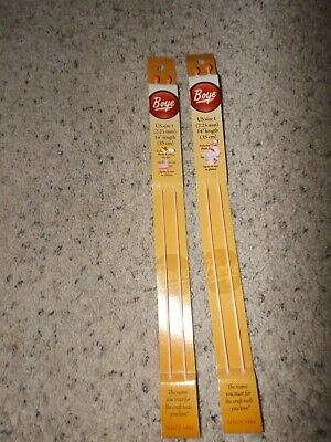 "Boye single point pack of two knitting needles US size 2 10/"" length NIP 1"