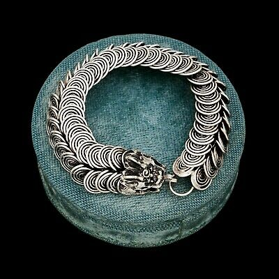 Antique Vintage Deco Sterling Silver Chinese Tibetan Articulated Dragon Bracelet