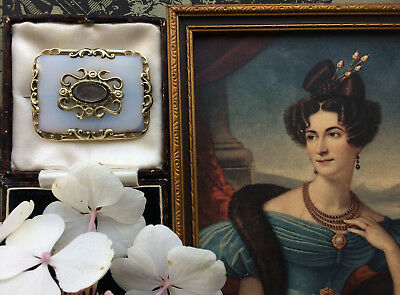 Rare Antique Georgian Regency Large Opalescent Mourning Hair Locket Brooch Pin