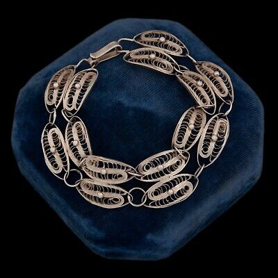 Antique Vintage Art Deco Sterling 800 Silver Etruscan Filigree Tennis Bracelet