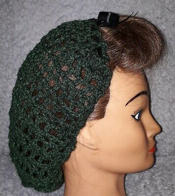 Hair Snood (Conifer Green With Black Ribbon. Handmade 1940'S Style)