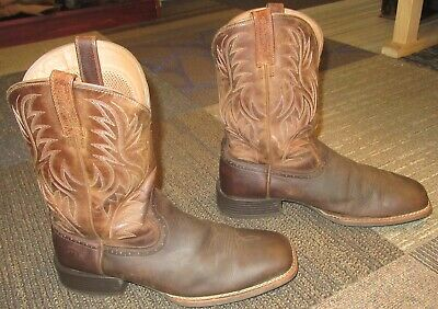 655e5ac5b1a MENS ARIAT SPORT Wide Square Toe Leather Western Cowboy Boots sz 12 D