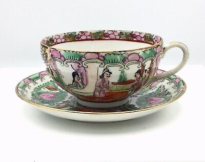 Vtg Chinese Canton Rose Medallion Cup And Saucer