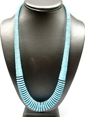 925 Silver Southwestern Turquoise Blue Graduated Stone Beaded Necklace TS11 OS