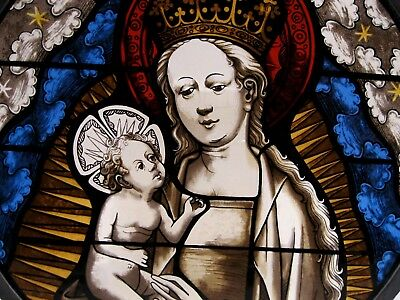 MMA Reproduction Sun catcher Stained Glass Panel round Holy Mother and Child
