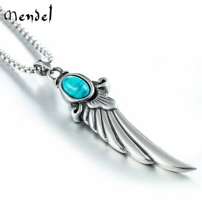 MENDEL Mens Angel Wing Charm Pendant Necklace Stainless Steel Turquoise Silver