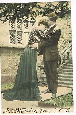 "ANTIQUE  ROMANCE Postcard      ""PITY IS AKIN TO LOVE"""