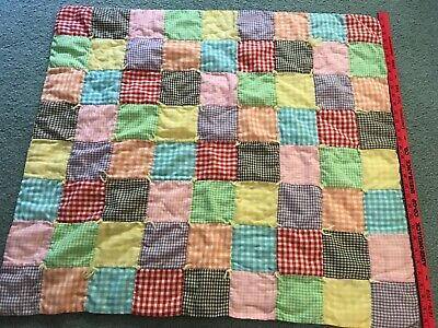 "Baby quilt,crib quilt,hand made,hand tied,33""x36"";gingham,cotton,old,very good++"