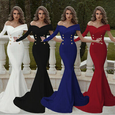Women Evening Long Prom Dress Formal Party Gown Bridesmaid Mermaid Strap Bodycon